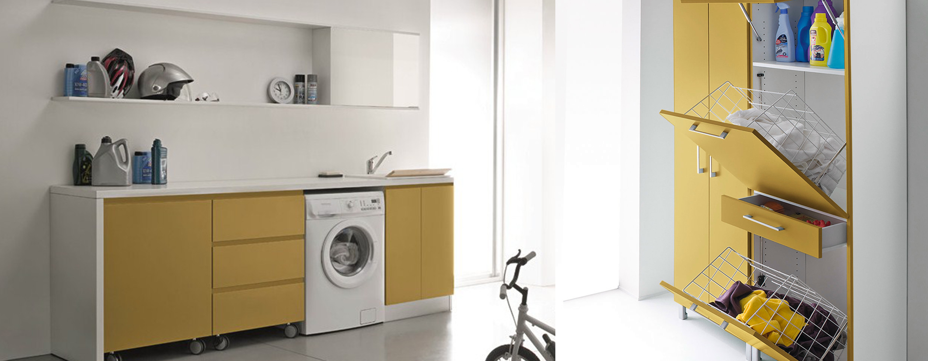 Bagno con pareti in mosaico beige - Mobili per lavanderia di casa ...