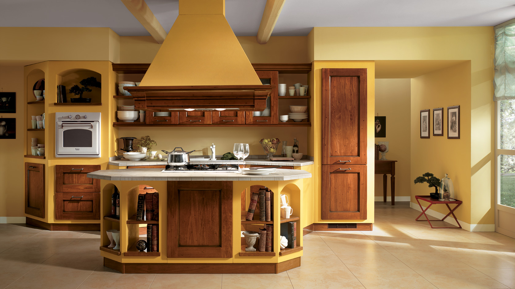 Cucine classiche scavolini centro mobili for Fascinating yellow kitchen ideas