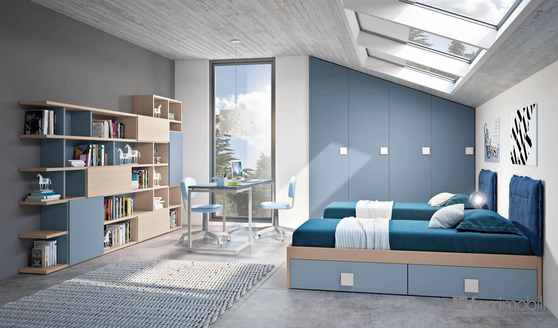 Cameretta composizione 809 ferri mobili centro mobili for Colori mobili