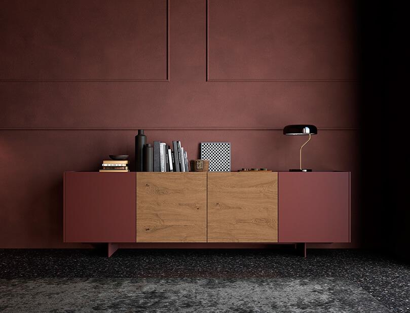 madia rossa legno mobilgam