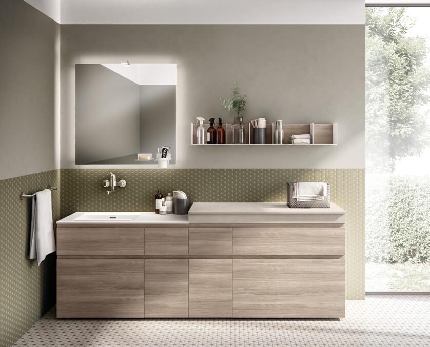 Mobile bagno marmo con lavabo integrato Juno Scavolini