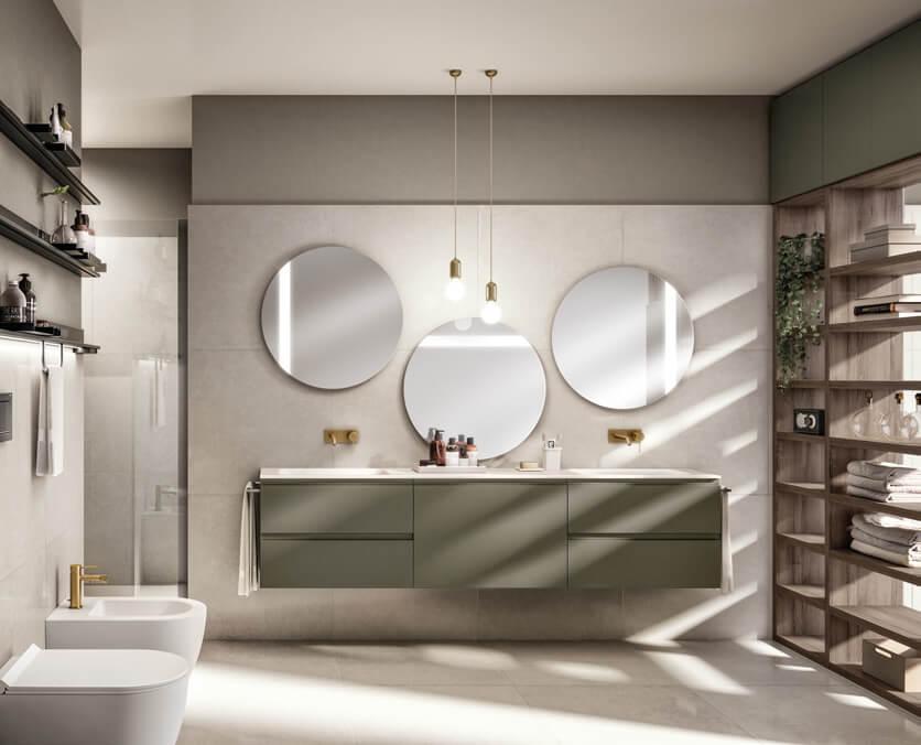 Mobile bagno verde con parete attrezzata Scavolini